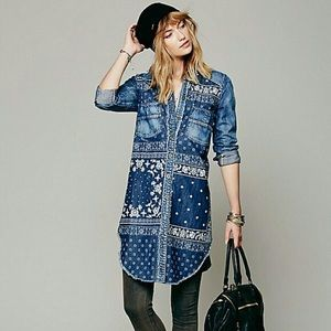 Free People Westward Won Denim Shirt tunic XS